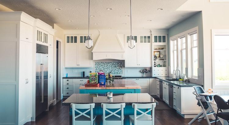 light blue open kitchen